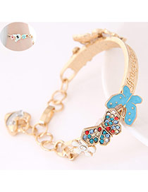 Trendy Multicolor Butterfly Shape Decorated Simple Design  Alloy Fashion Bangles