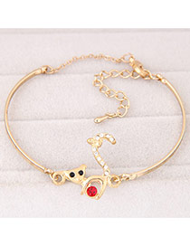 Trendy Gold Color Cat Decorated Simple Design  Alloy Fashion Bangles
