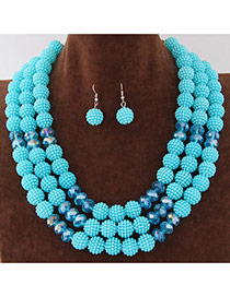Fashion Light Blue Beads Decorated Multilayer Design Alloy Jewelry Sets