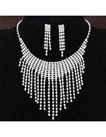 Fashion White Diamond Decorated Tassel Design