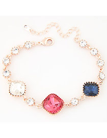Exquisite Multi-color Square Gemstone Decorated Simple Design  Alloy Korean Fashion Bracelet