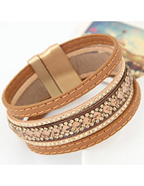 Temperament Khaki Diamond Decorated Multilayer Design Alloy Korean Fashion Bracelet