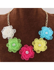 Sweet White Five Big Flower Decorated Short Chain Design Alloy Bib Necklaces