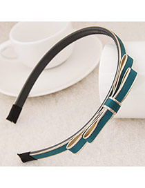 Exquisite Dark Green Double Bowknot Decorated Simple Design  Plastic Hair band hair hoop
