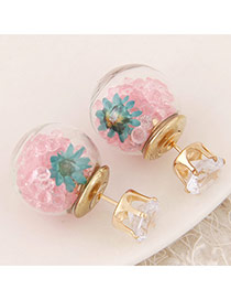 Sweet Pink+dark Green Diamond&flower Decoraed Simple Design  Alloy Stud Earrings