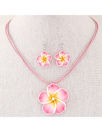 Sweet Pink Flower Pendant Decorated Multilayer Short Design  Alloy Jewelry Sets