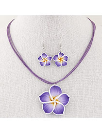 Sweet Purple Flower Pendant Decorated Multilayer Short Design  Alloy Jewelry Sets