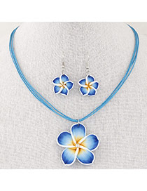 Sweet Blue Flower Pendant Decorated Multilayer Short Design  Alloy Jewelry Sets