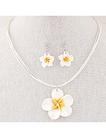 Sweet Yellow Flower Pendant Decorated Multilayer Short Design  Alloy Jewelry Sets