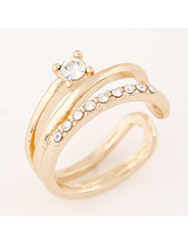 Sweet Gold Color Diamond Decorated Hollow Out Opening Design  Alloy Korean Rings