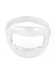 Fashion Silver Color Letter Pattern Decorated Geometric Shape Design  Alloy Korean Rings