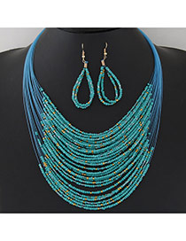 Bohemia Green Beads Weaving Decorated Multilayer Design  Alloy Jewelry Sets