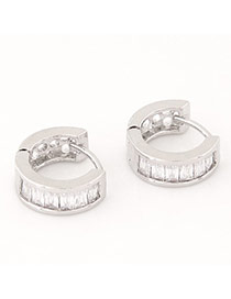 Sweet Silver Color+white Diamond Decorated Semicircle Shape Design  Cuprum Korean Earrings