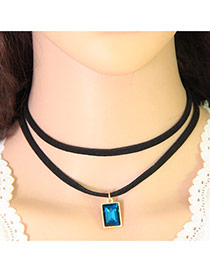 Fashion Blue Square Pendant Decorated Double Layer Design Alloy Pendants