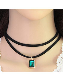 Fashion Green Square Pendant Decorated Double Layer Design Alloy Pendants
