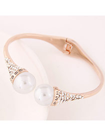 Trending Rose Gold Double Pearls Decorated Simple Design  Alloy Fashion Bangles