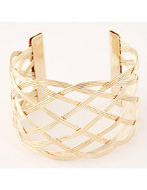 Trending Gold Color Hollow Out Metal Weave Opening Design  Alloy Fashion Bangles