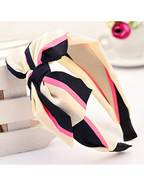 Sweet Multicolor Bowknot Decorated Stripe Pattern Wide Design  Fabric Hair band hair hoop