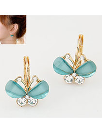 Sweet Green Diamond Decorated Butterfly Shape Design Alloy Korean Earrings