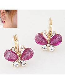 Sweet Purple Diamond Decorated Butterfly Shape Design Alloy Korean Earrings