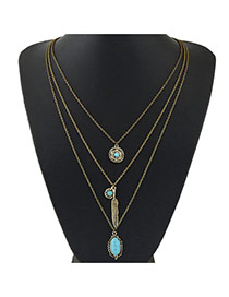 Vintage Bronze Multielement Pendant Decorated Multilayer Design Alloy Multi Strand Necklaces