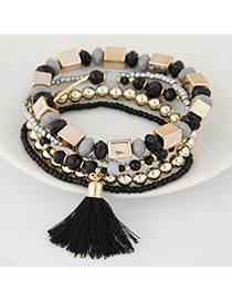 Bohemia Black Tassel Decorated Multicolor Design Alloy Korean Fashion Bracelet