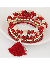 Bohemia Red Tassel Decorated Multicolor Design Alloy Korean Fashion Bracelet