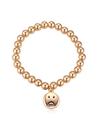 Elegant Champagne Gold Sad Face Round Pendant Beads Decorated Simple Design Alloy Crystal Bracelets