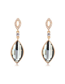 Elegant Champagne Gold+black Diamond Decorated Water Drop Shape Design Alloy Crystal Earrings