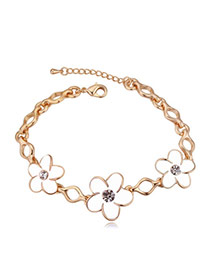 Elegant Champagne Gold+white Flower Shape Decorated Simple Design Alloy Crystal Bracelets