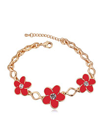 Elegant Champagne Gold+red Flower Shape Decorated Simple Design Alloy Crystal Bracelets
