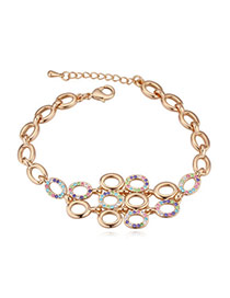 Elegant Champagne Gold+multicolor Diamond Decorated Oval Shape Hollow Out Design Alloy Crystal Bracelets