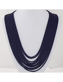 Fashion Navy Blue Metal Decorated Multilayer Design