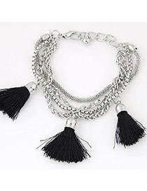 Fashion Black Tassel Decorated Multilayer Design Alloy Korean Fashion Bracelet