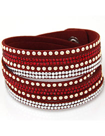Fashion Red Diamond Decorated Multilayer Design Alloy Korean Fashion Bracelet