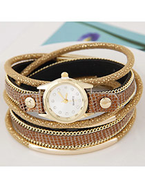 Temperamental Brown Metal Rivet&chain Decorated Multilayer Design Alloy Ladies Watches