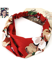 Fashion Red Flower Pattern Decorated Wide Design Fabric Hair band hair hoop