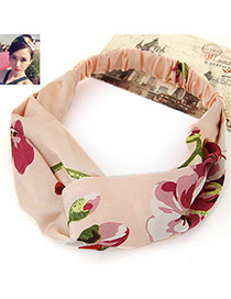 Fashion Apricot Flower Pattern Decorated Wide Design Fabric Hair band hair hoop