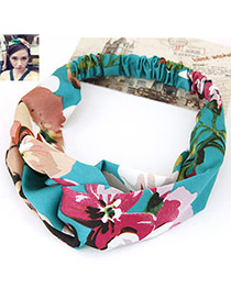 Fashion Blue Flower Pattern Decorated Wide Design Fabric Hair band hair hoop