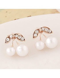 Sweet White Diamond Decorated Cherry Shape Design Alloy Stud Earrings