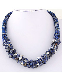 Bohemia Blue Irregular Shape Decorated Weave Design Stone Bib Necklaces
