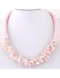 Bohemia Pink Irregular Shape Decorated Weave Design Stone Bib Necklaces