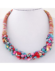 Bohemia Multicolor Irregular Shape Decorated Weave Design Stone Bib Necklaces