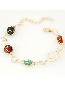 Fashion Multicolor Stone Decorated Simple Design Alloy Korean Fashion Bracelet