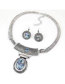 Fashion Silver Color Oval Pendant Decorated Simple Design Alloy Jewelry Sets