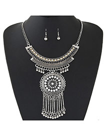 Fashion Silver Color Flower Pendant Decorated Tassel Design