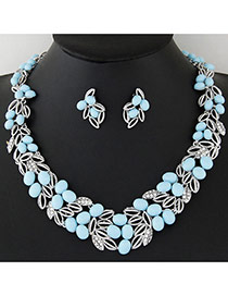 Fashion Blue Leaf Shape Decorated Hollow Out Design Alloy Jewelry Sets