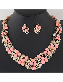 Fashion Pink Leaf Shape Decorated Hollow Out Design Alloy Jewelry Sets