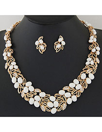 Fashion White Leaf Shape Decorated Hollow Out Design Alloy Jewelry Sets