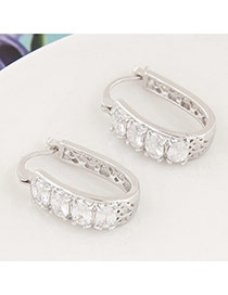 Sweet White+silver Color Diamond Decorated Hollow Out Design Cuprum Korean Earrings